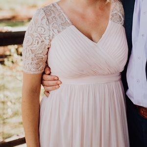 Floor length blush dress
